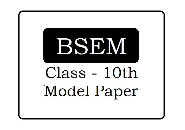 BSEM 10th Model Paper 2022