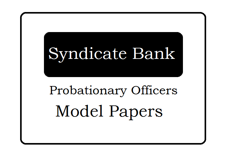 Syndicate Bank PO Model Paper 2020